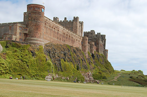 Bamburgh Castle as seen from the village green