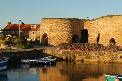 Beadnell harbour limekilns and boats, Northumberland