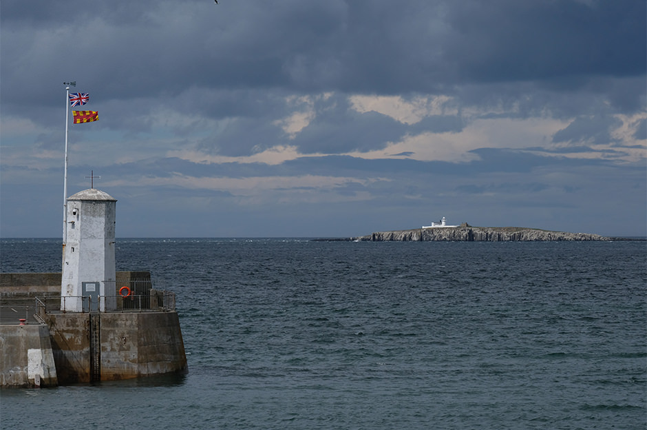 The view to the Farne Islands from the harbour